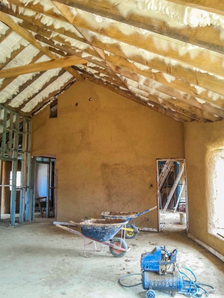 205 Corkin_28internal cob wall, ventilation and roof insulation foam